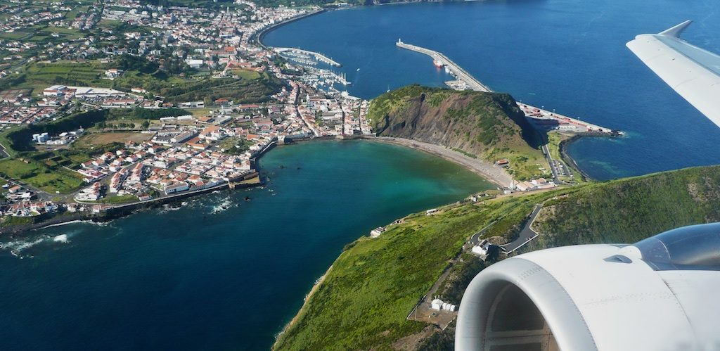 Aerial view of Horta Bay, Faial